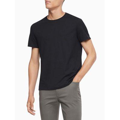 Camiseta Masculina Básica Logo Bordado Liquid Cotton Preta Calvin Klein