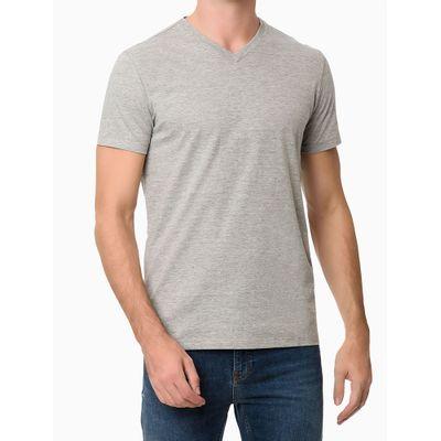 Camiseta Masculina Gola V Essentials Cinza Mescla Calvin Klein Jeans