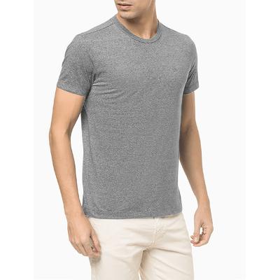 Camiseta Básica Liquid Bordado Ck - Cinza