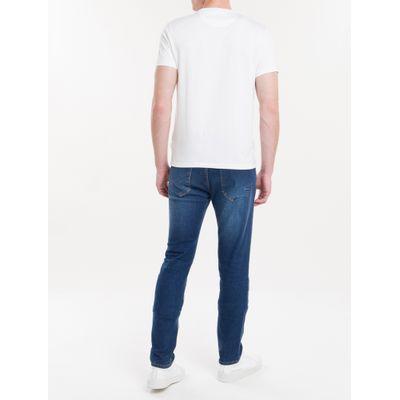 Camiseta Masculina Básica Logo Bordado Liquid Cotton Branca Calvin Klein