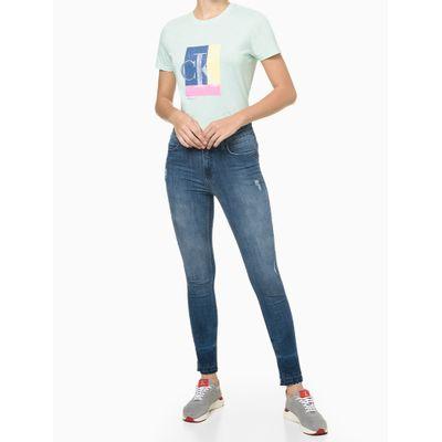 Blusa Feminina CK Colorido Acqua Verde Clara Calvin Klein Jeans