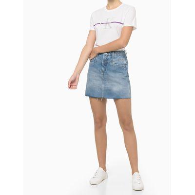 Blusa Feminina Slim Faixa Logo CK Branca Calvin Klein Jeans