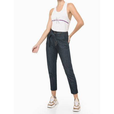 Blusa Regata Feminina Faixa com Logo CK Branca Calvin Klein Jeans