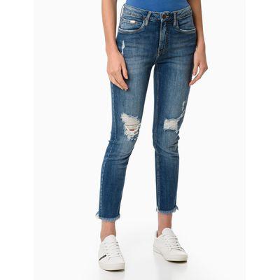 Calça Jeans Five Pockets Barras Comidas - Azul Médio