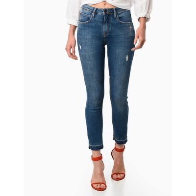Calça Jeans Five Pockets Barra Desfeita - Azul Médio