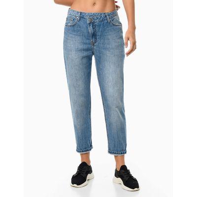 Calça Jeans Mom Cós Desalinhado - Azul Médio