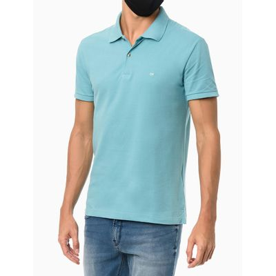 Polo Mc Slim Básica Sem Friso - Azul Turquesa