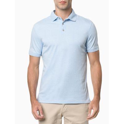 Camisa Polo Masculina Lisa Algodão Azul Claro Calvin Klein