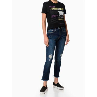 Calça Jeans Five Pockets Barras Comidas - Azul Marinho
