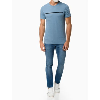 Calça Jeans Masculina Five Pockets Super Skinny Básica Azul Claro Calvin Klein