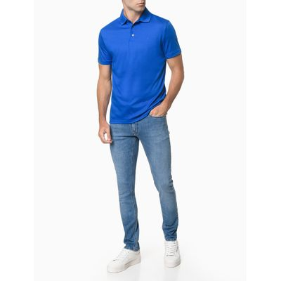 Camisa Polo Masculina Lisa Algodão Azul Médio Calvin Klein