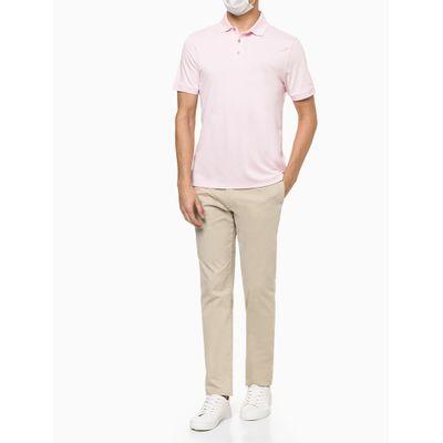 Camisa Polo Masculina Lisa Algodão Rosa Claro Calvin Klein