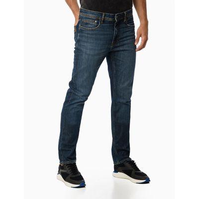 Calça Jeans Five Pockets Slim Straight - Azul Marinho