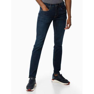 Calça Jeans Super Skinny Barra Dobrada - Azul Marinho