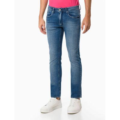 Calça Jeans Masculina Five Pockets Slim Reta Básica Azul Médio Calvin Klein