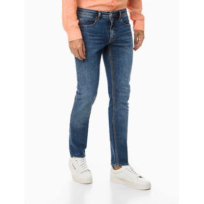 Calça Jeans Masculina Five Pockets Skinny com Costura Interna Azul Marinho Calvin Klein