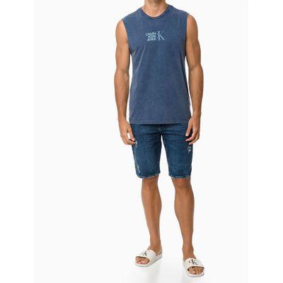 Bermuda Jeans Five Pockets Moletom - Azul Médio