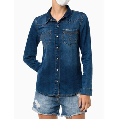 Camisa Jeans Ml Bolsos Bordado Ômega - Azul Marinho