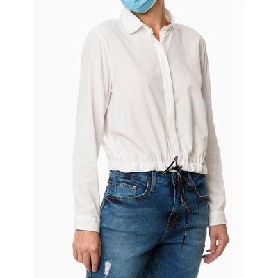 Camisa Cropped Com Elástico Na Barra - Branco