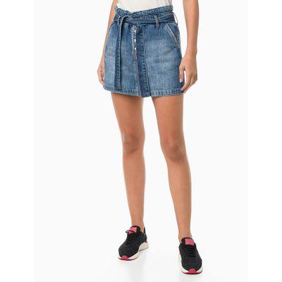 Saia Jeans Amarração - Azul Médio