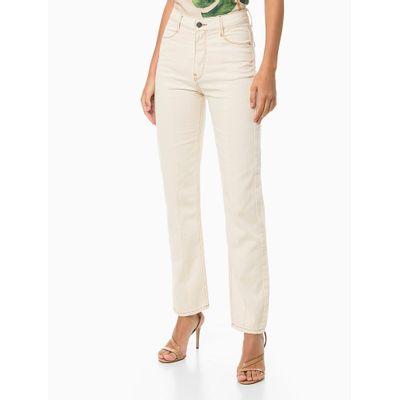 Calça Jeans Straight High Recor Frente - Off-White