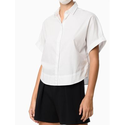 Camisa Cropped Manga Curta - Branco
