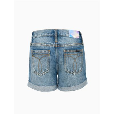 Shorts Jeans Botões Na Vista - Azul Médio