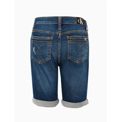 Bermuda Jeans Cadarço Personalizado Cós - Azul Marinho