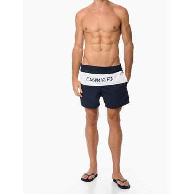 Shorts Elastico Liso Logo Frontal - Azul Marinho