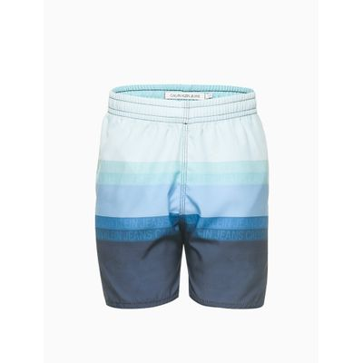 Short Agua Estamp Listras Logo Repetição - Azul Marinho